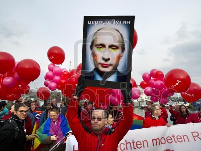 Homoprotest tegen Poetin