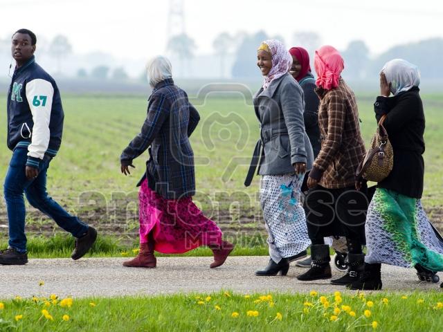 Asielzoekers op weg naar het detentiecentrum in Ter Apel